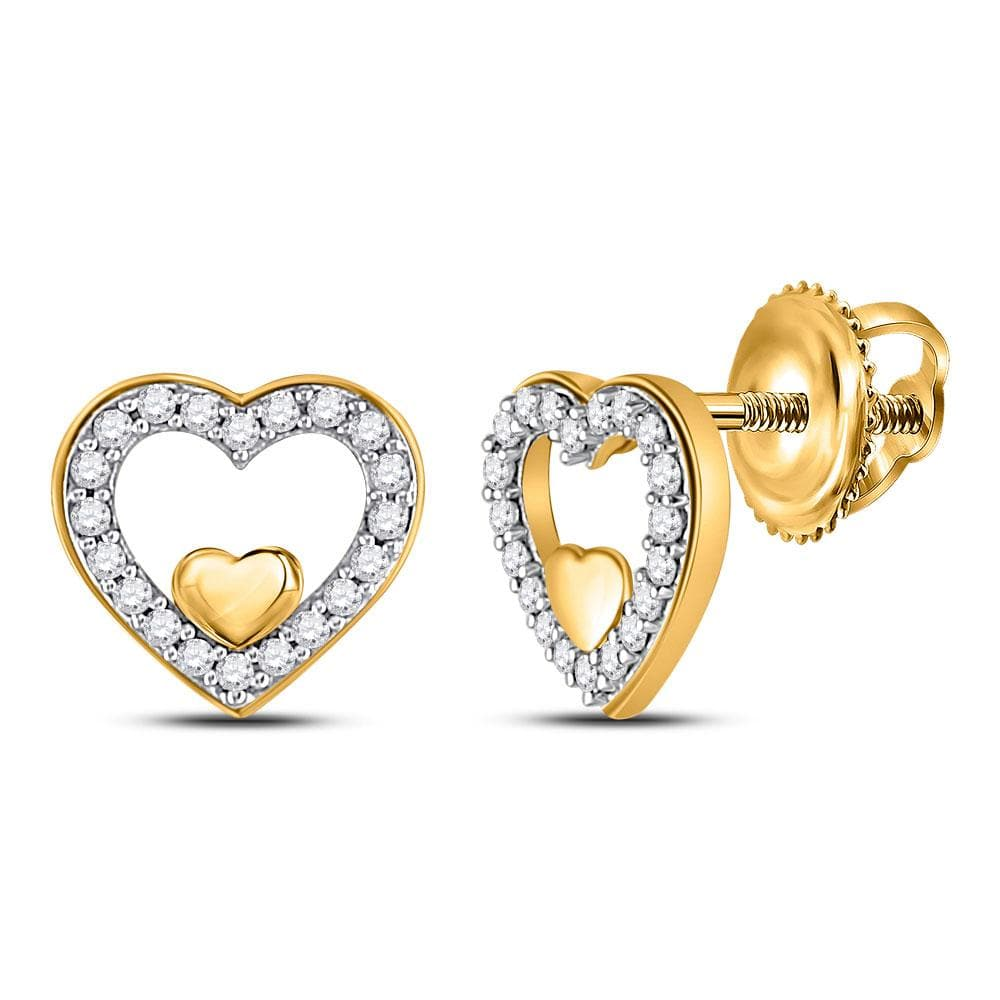 10kt Yellow Gold Womens Round Diamond Heart Earrings 1/8 Cttw