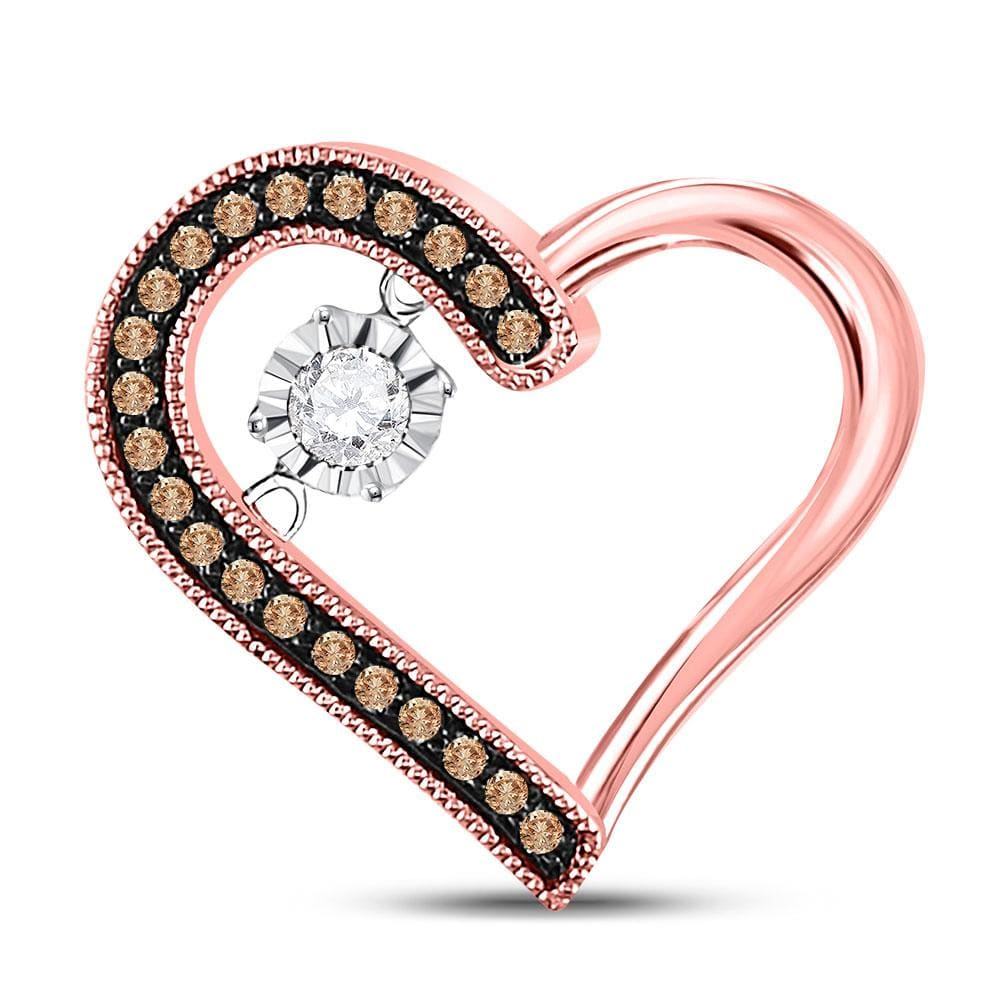 10kt Rose Gold Womens Round Brown Diamond Heart Moving Twinkle Pendant 1/5 Cttw