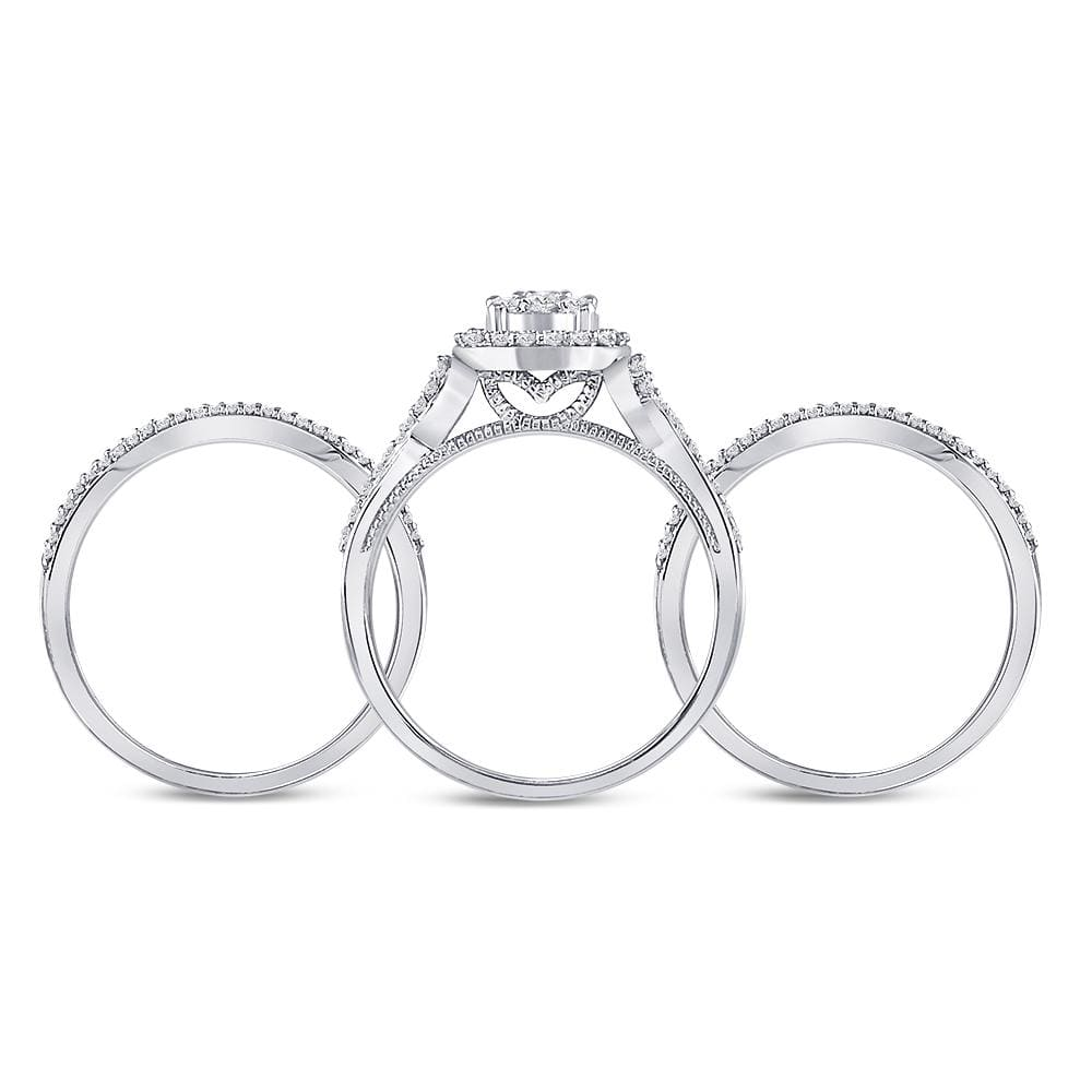 10kt White Gold Womens Round Diamond 3-Piece Bridal Wedding Engagement Ring Band Set 1/2 Cttw