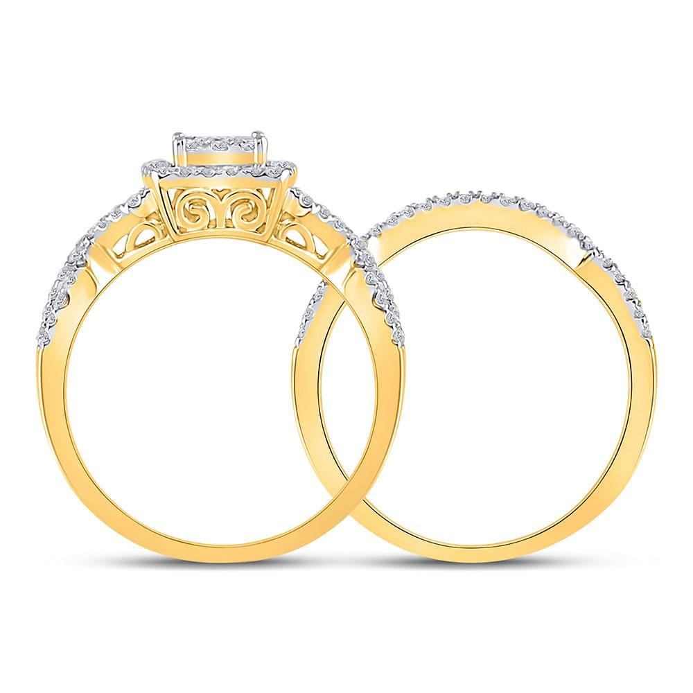 10kt Yellow Gold Round Diamond Bridal Wedding Ring Band Set 5/8 Cttw