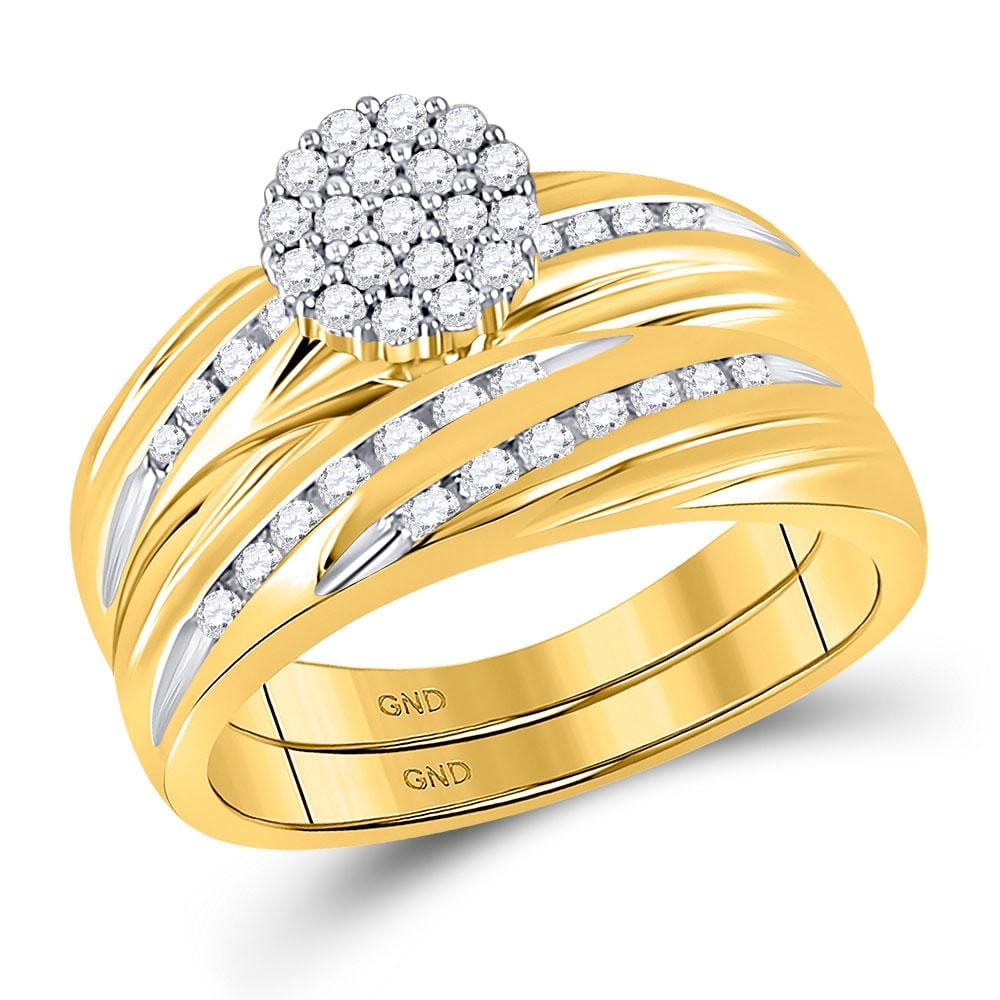 10kt Yellow Gold His & Hers Round Diamond Cluster Matching Bridal Wedding Ring Band Set 7/8 Cttw