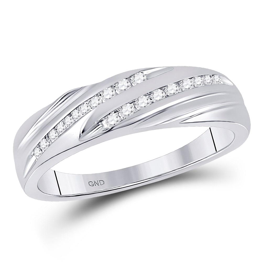 10kt White Gold His & Hers Round Diamond Cluster Matching Bridal Wedding Ring Band Set 7/8 Cttw