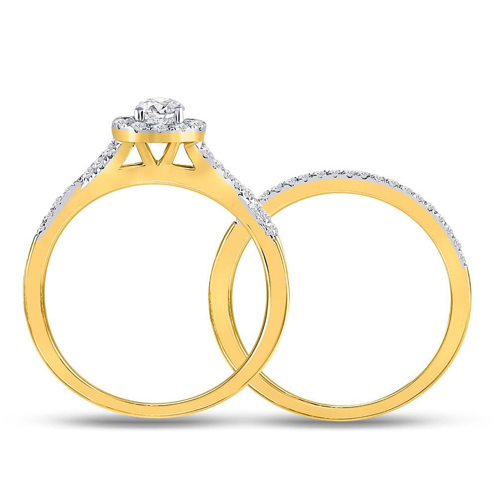14kt Yellow Gold Womens Round Diamond Twist Bridal Wedding Engagement Ring Band Set 1/2 Cttw