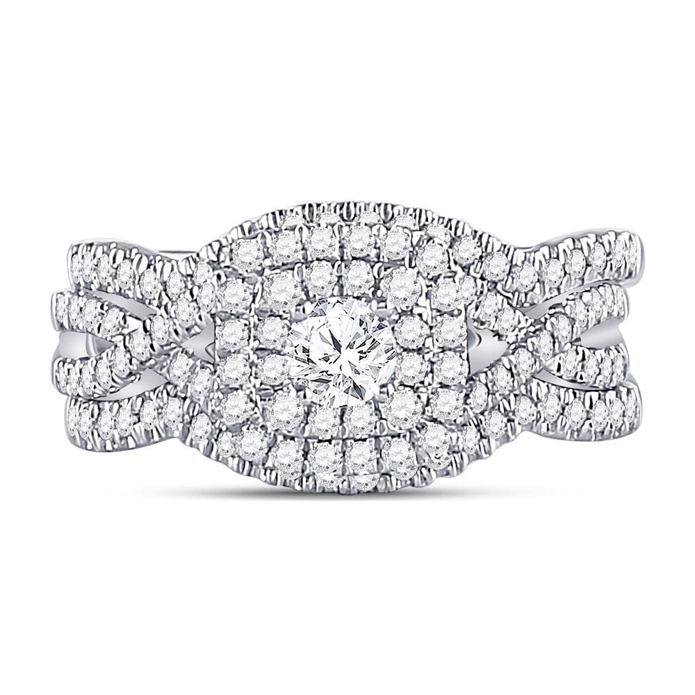 14kt White Gold Womens Round Diamond 3-Piece Bridal Wedding Engagement Ring Band Set 3/4 Cttw