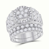 14kt White Gold Womens Round Diamond Bridal Wedding Engagement Ring Band Set 3-5/8 Cttw