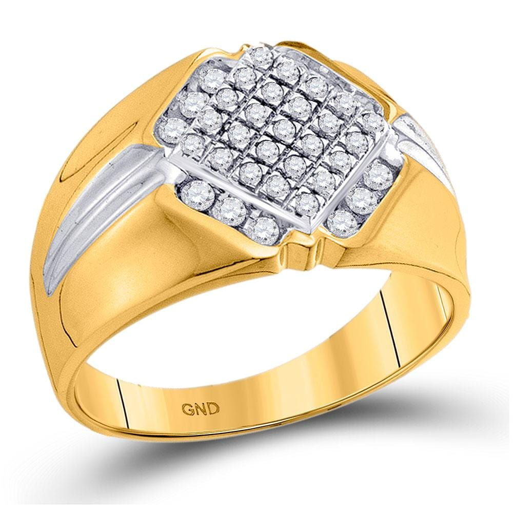 10kt Two-tone Gold Mens Round Diamond Diagonal Square Cluster Ring 1/2 Cttw