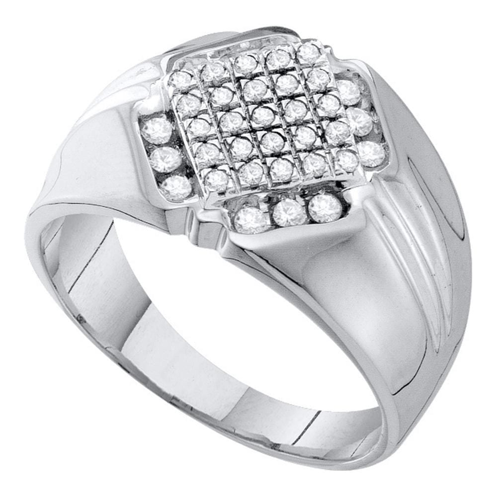 10kt White Gold Mens Round Diamond Diagonal Square Cluster Ring 1/2 Cttw