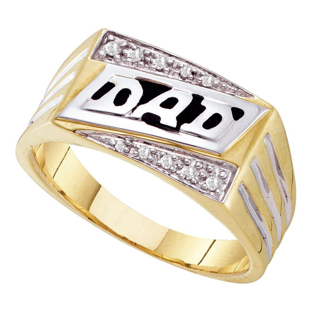 10kt Yellow Gold Mens Round Diamond Dad Father Fashion Ring 1/12 Cttw