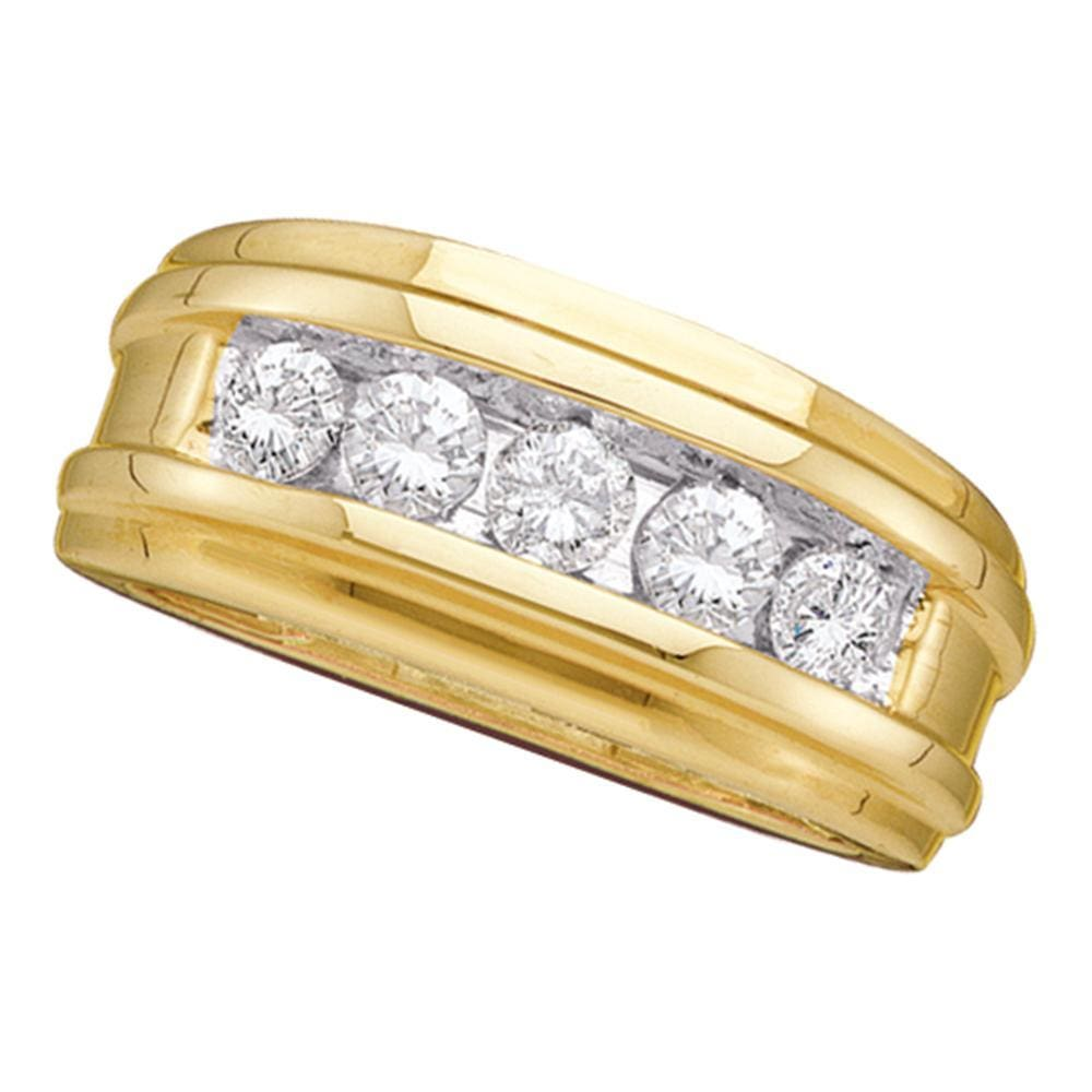 14kt Yellow Gold Mens Round Diamond Ridged Wedding Band Ring 1/2 Cttw