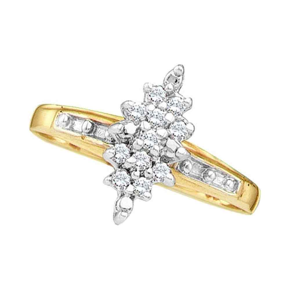 14kt Yellow Gold Womens Round Diamond Marquise-shape Cluster Ring 1/10 Cttw