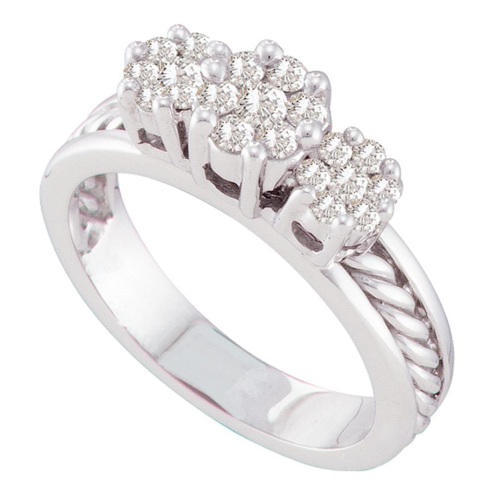 14kt White Gold Womens Round Diamond Triple Flower Cluster Rope Ring 1/2 Cttw