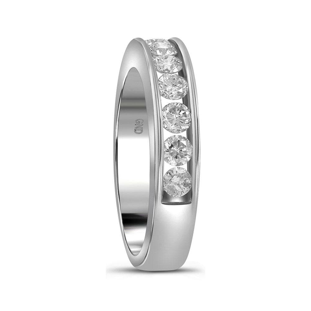 14kt White Gold Womens Round Channel-set Diamond Single Row Wedding Band 1.00 Cttw