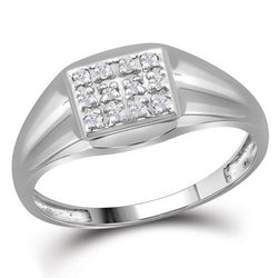 10kt White Gold Mens Round Diamond Square Cluster Ring 1/8 Cttw