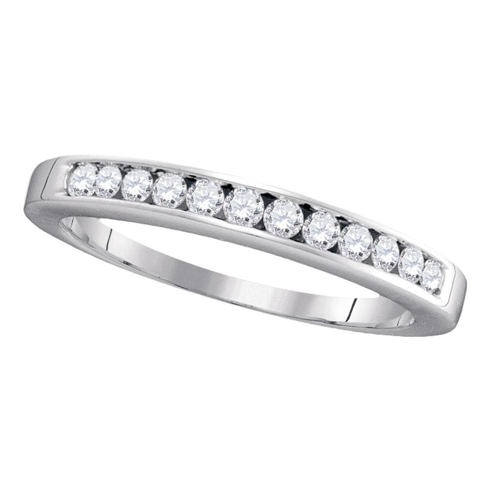 14kt White Gold Womens Round Channel-set Diamond Single Row Wedding Band 1/4 Cttw