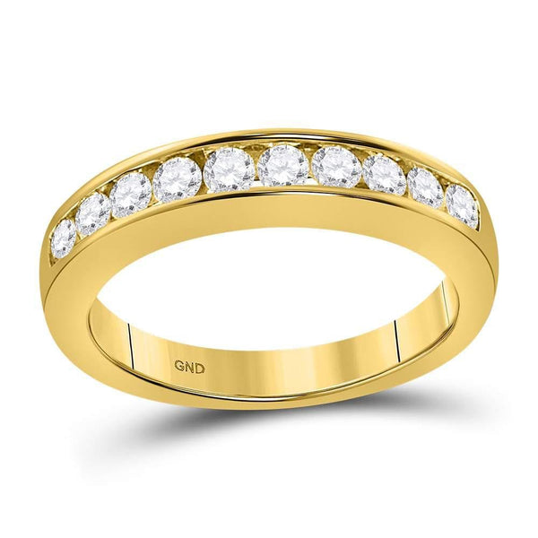 14kt Yellow Gold Womens Round Channel-set Diamond Wedding Band 1/2 Cttw