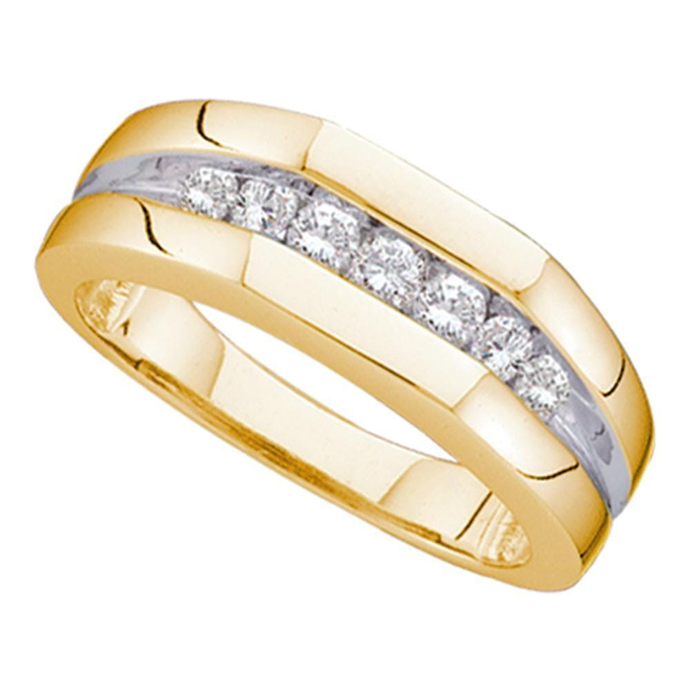 14kt Yellow Gold Mens Round Channel-set Diamond Flat Surface Wedding Band 1/2 Cttw