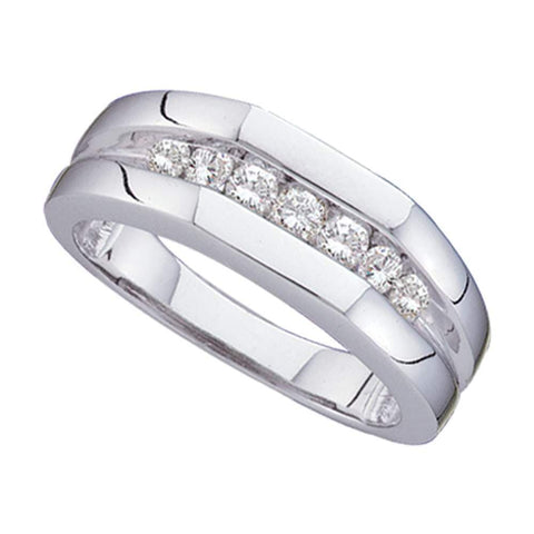 14kt White Gold Mens Round Channel-set Diamond Flat Surface Wedding Band 1/2 Cttw