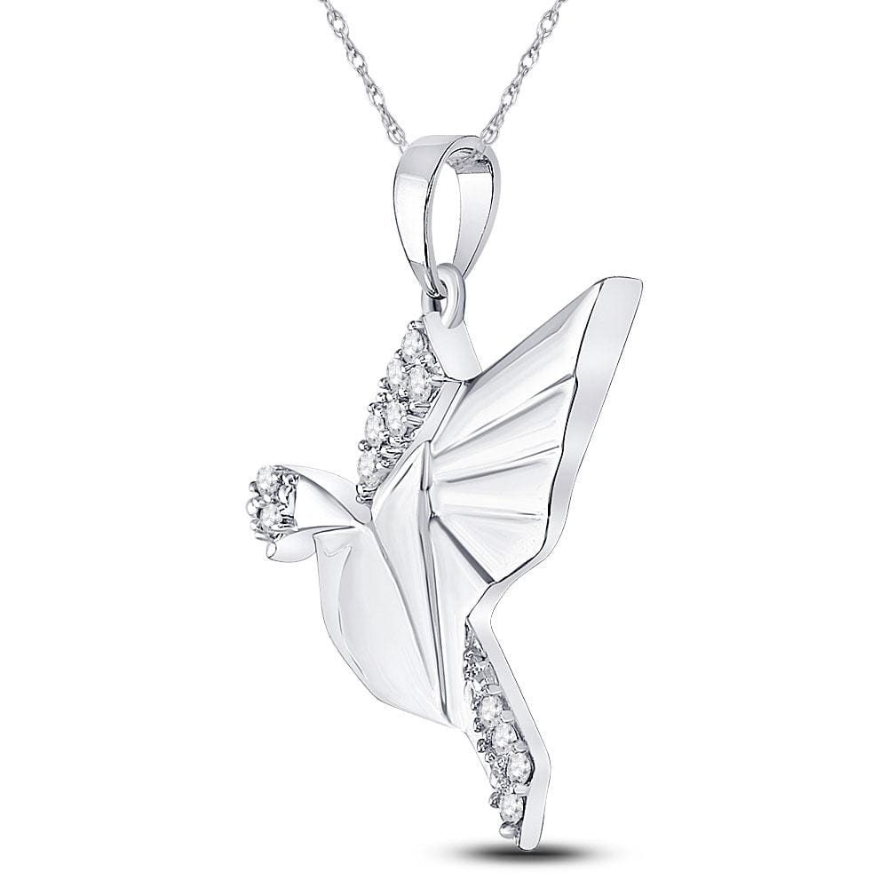 Sterling Silver Womens Round Diamond Dove Animal Pendant 1/5 Cttw