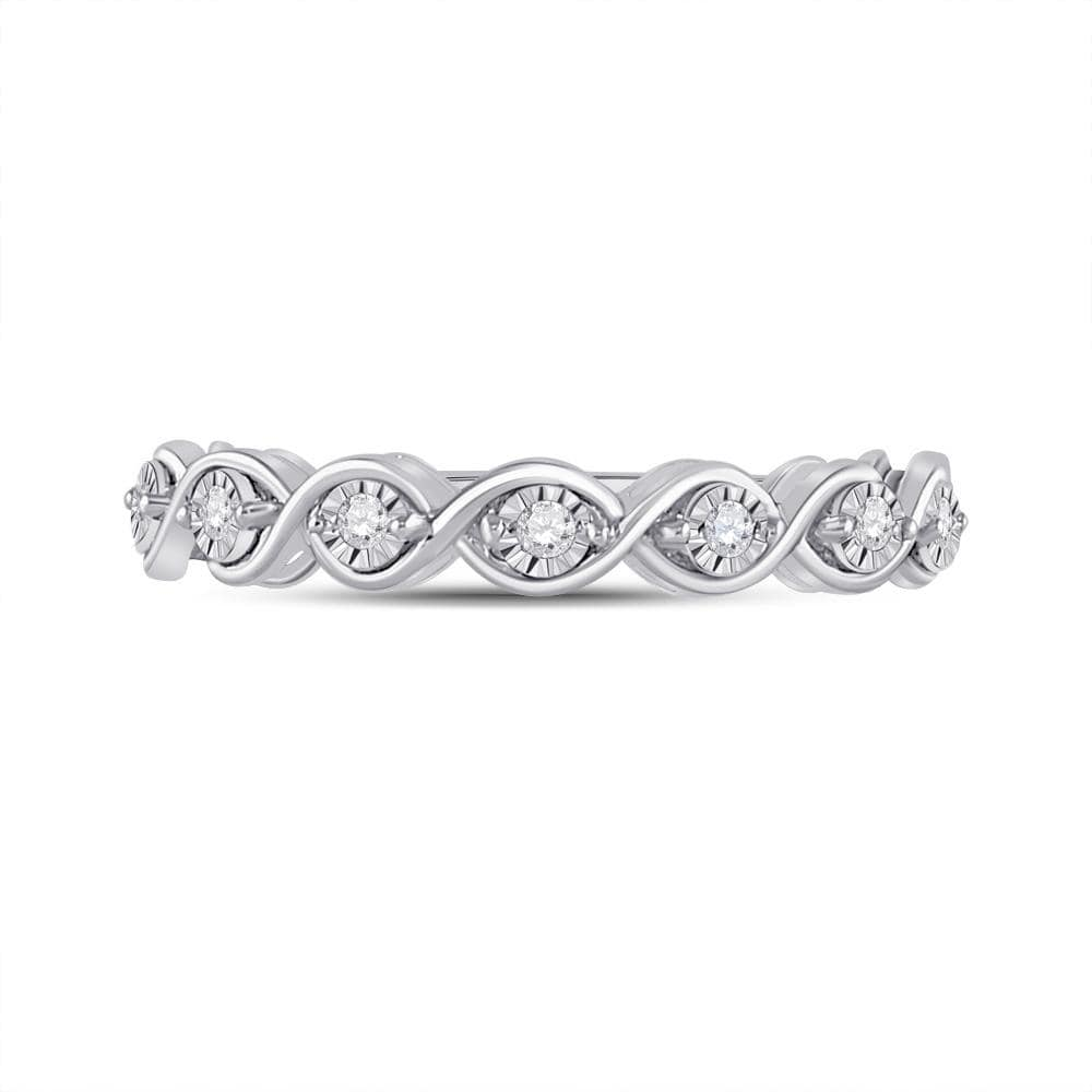 Sterling Silver Womens Round Diamond Anniversary Ring 1/10 Cttw