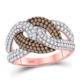 14kt Rose Gold Womens Round Brown Color Enhanced Diamond Loop Ring 1-1/2 Cttw