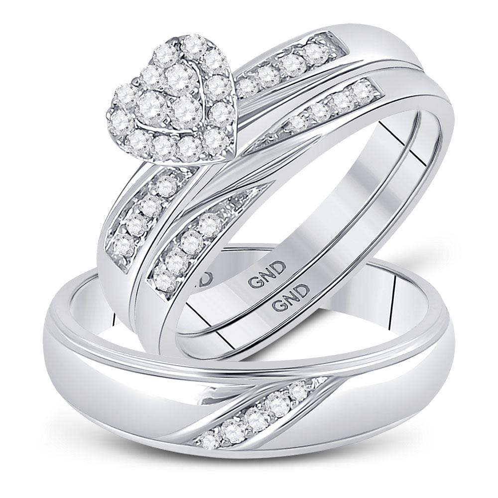 10kt White Gold His Hers Round Diamond Heart Matching Bridal Wedding Ring Band Set 1/3 Cttw