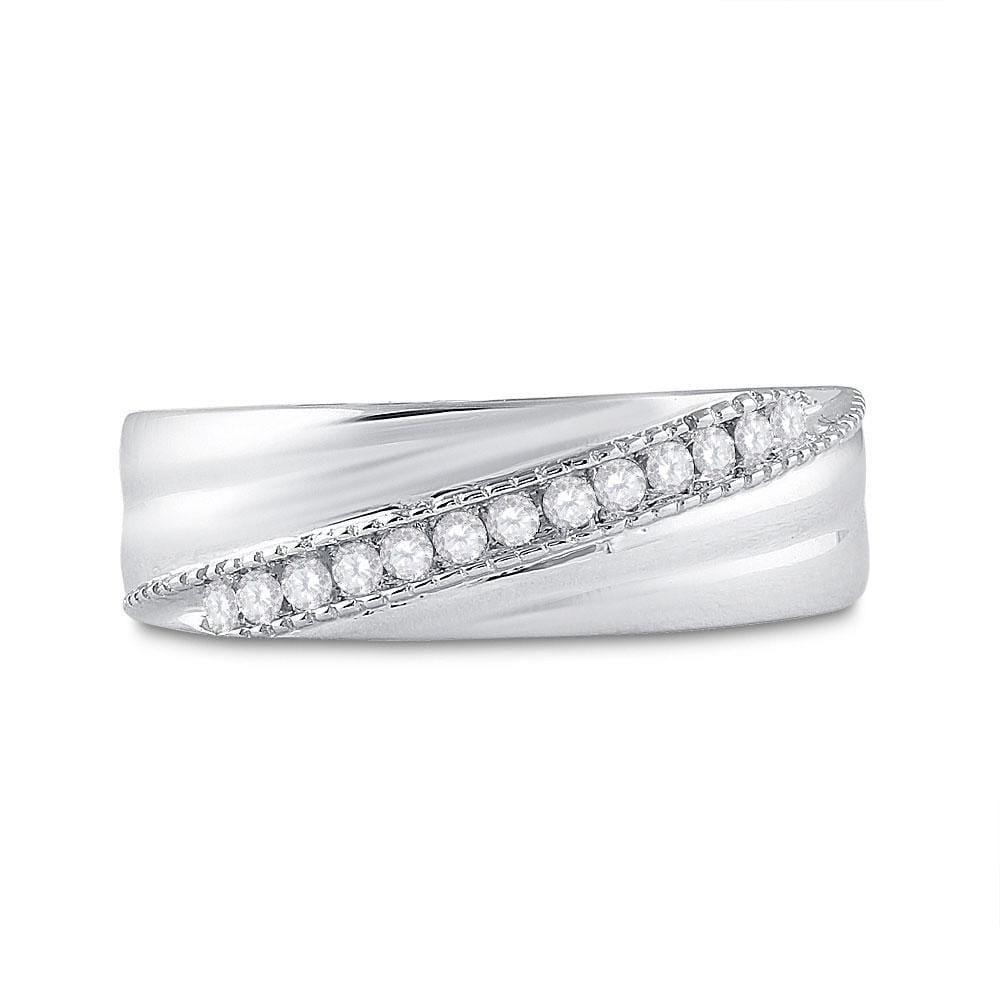 Sterling Silver Mens Round Diamond Wedding Diagonal Row Band Ring 1/5 Cttw