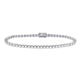 14kt White Gold Womens Round Diamond Studded Tennis Bracelet 3 Cttw