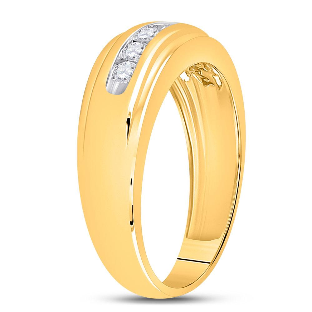 14kt Yellow Gold Mens Round Diamond Wedding Single Row Band Ring 1/2 Cttw