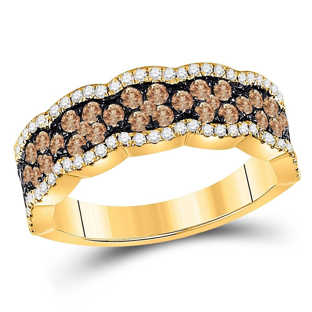 14kt Yellow Gold Womens Round Brown Diamond Fashion Band Ring 1 Cttw