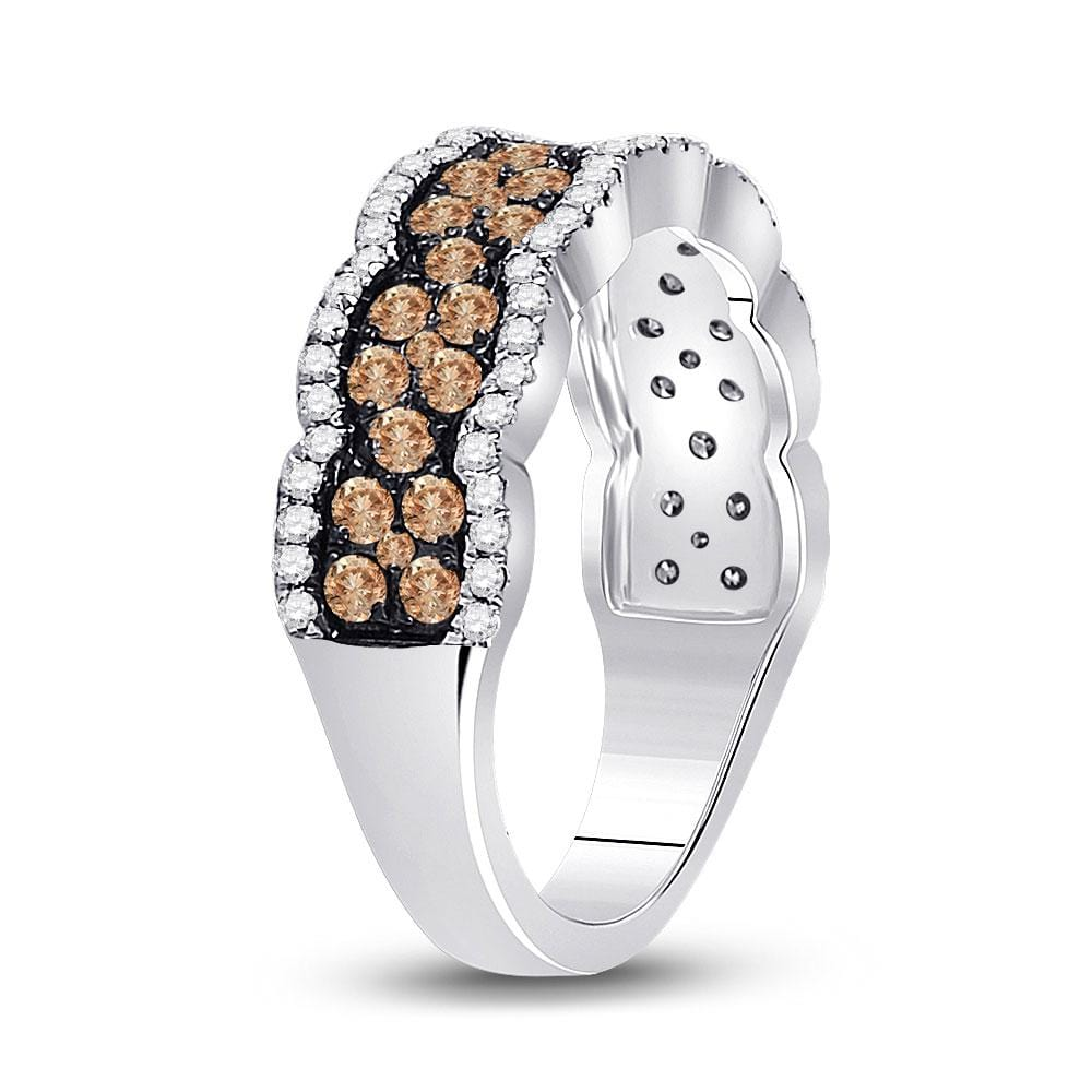 14kt White Gold Womens Round Brown Diamond Fashion Band Ring 1 Cttw