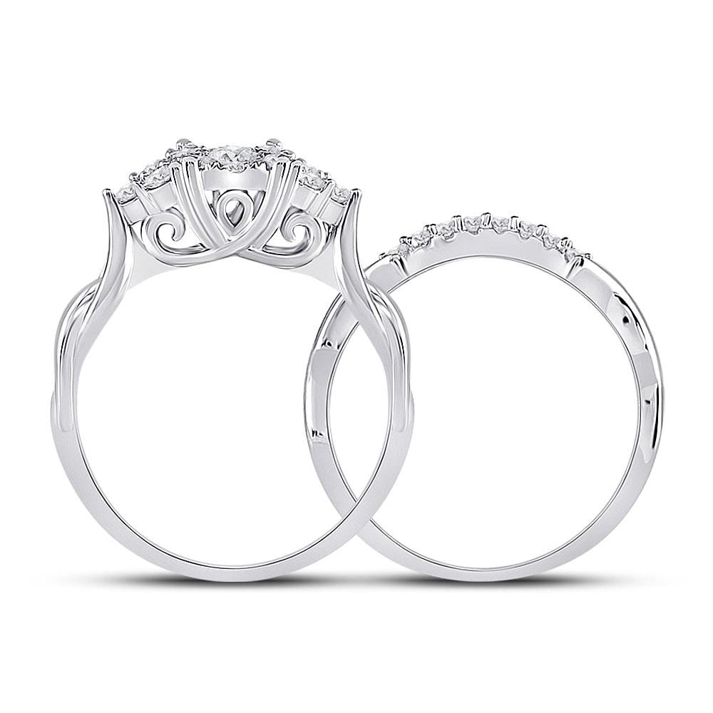 10kt White Gold Round Diamond Bridal Wedding Ring Band Set 1/2 Cttw