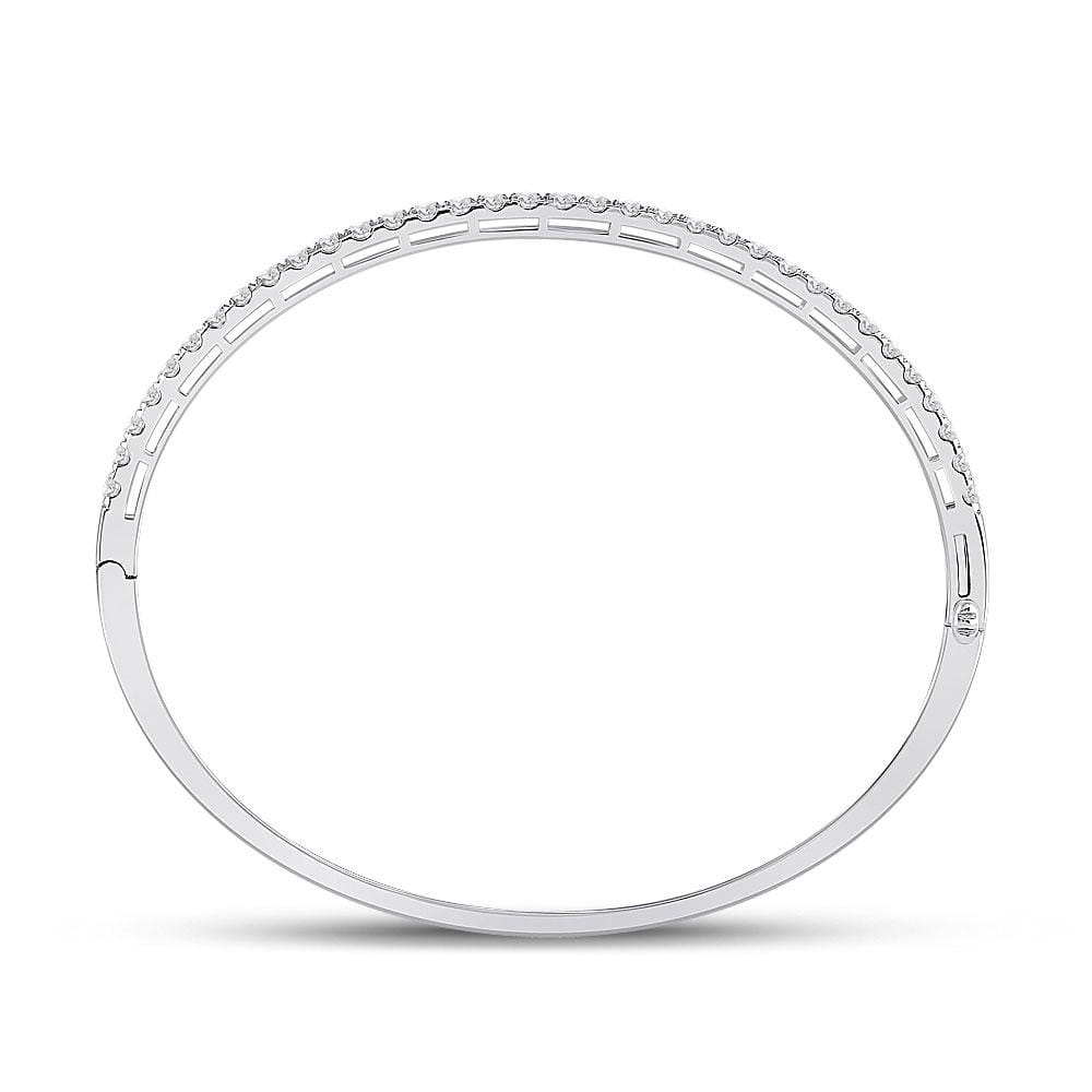 14kt White Gold Womens Round Diamond Classic Bangle Bracelet 2 Cttw