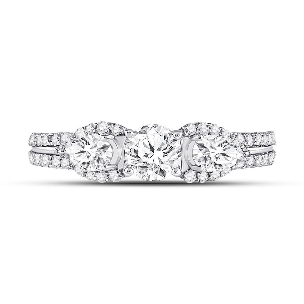 14kt White Gold Round Diamond 3-stone Bridal Wedding Engagement Ring 1-1/3 Cttw