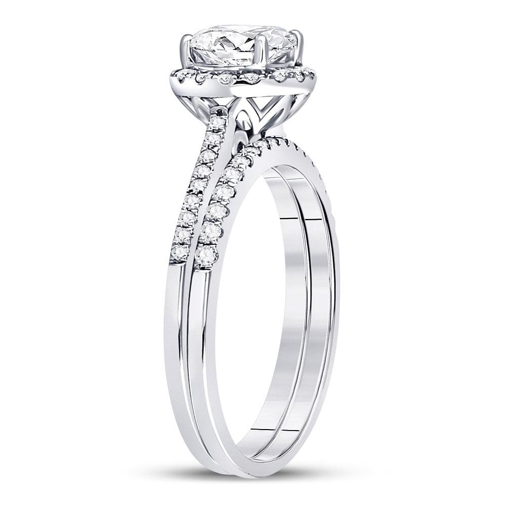 14kt White Gold Womens Round Diamond Bridal Wedding Engagement Ring Band Set 1-3/8 Cttw