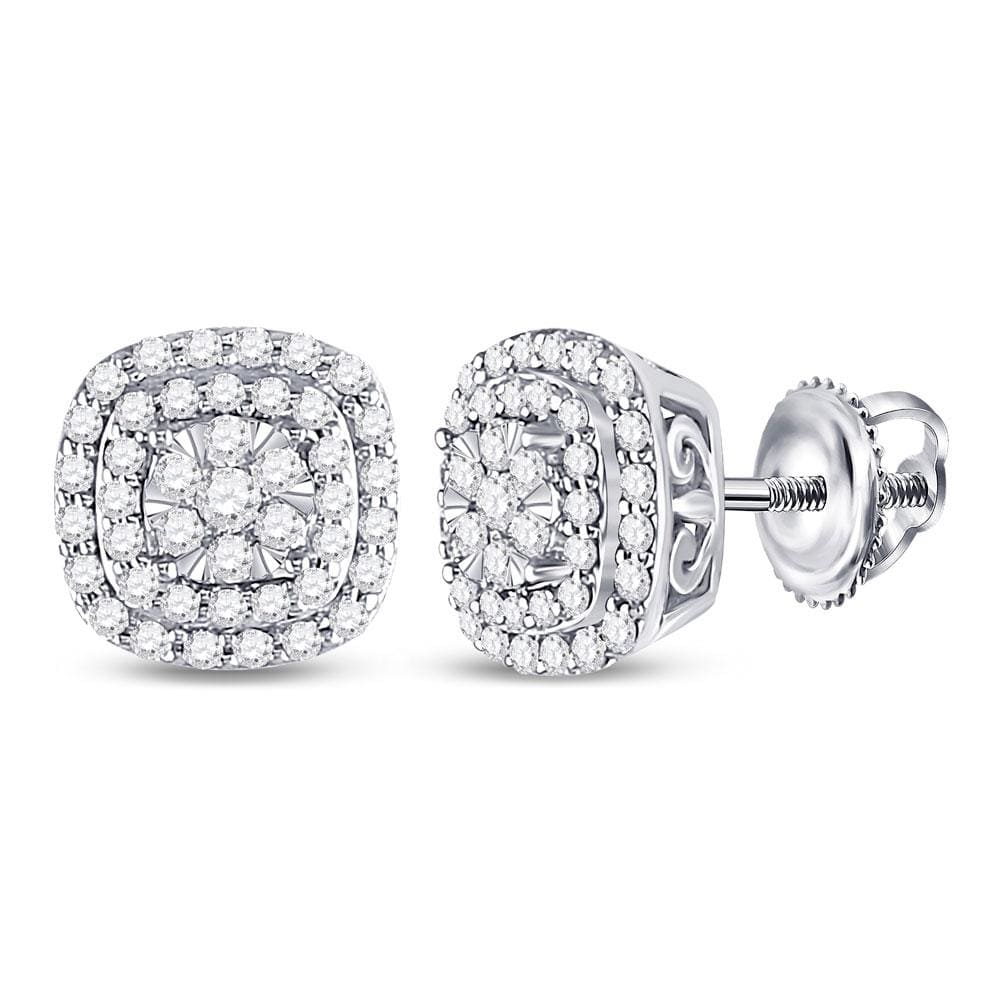 14kt White Gold Womens Round Diamond Cushion Halo Cluster Earrings 1/2 Cttw