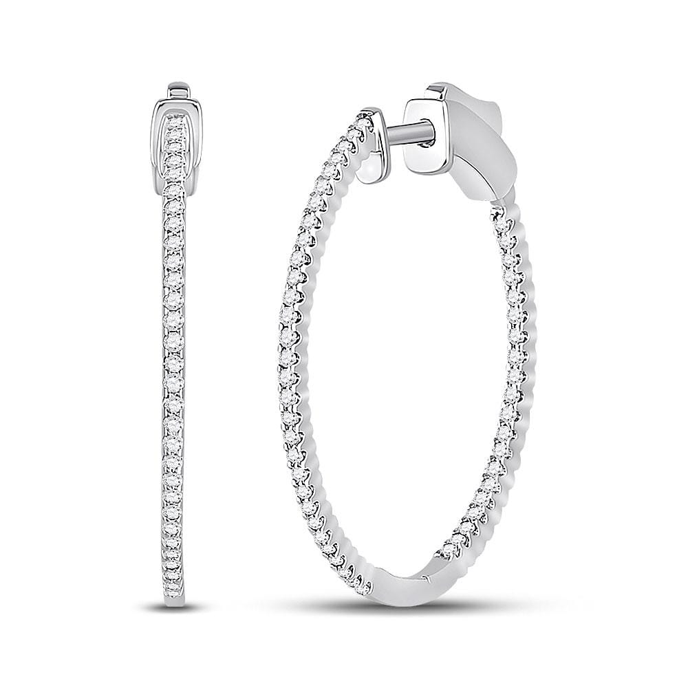 14kt White Gold Womens Round Diamond Inside-Outside Hoop Earrings 1/2 Cttw