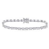 14kt White Gold Womens Round Diamond Cluster Tennis Bracelet 3 Cttw