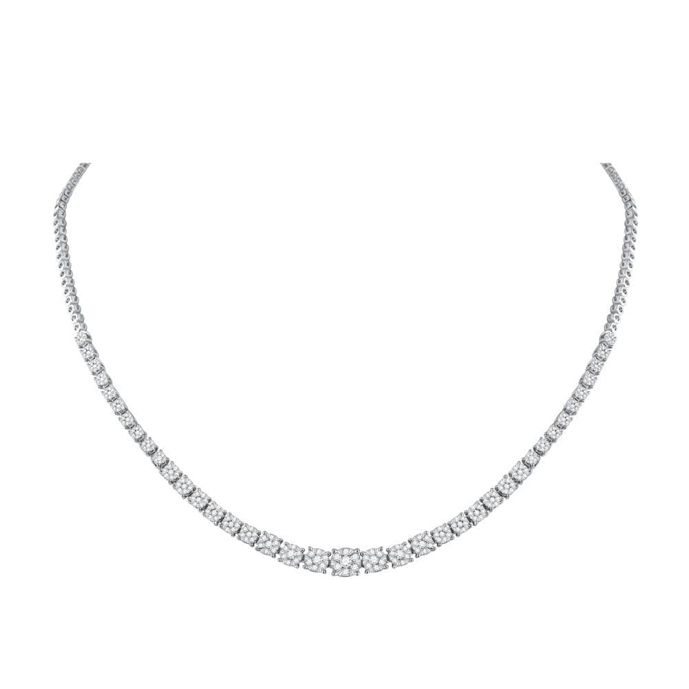 14kt White Gold Womens Round Diamond Graduated Cluster Tennis Necklace 2-1/3 Cttw