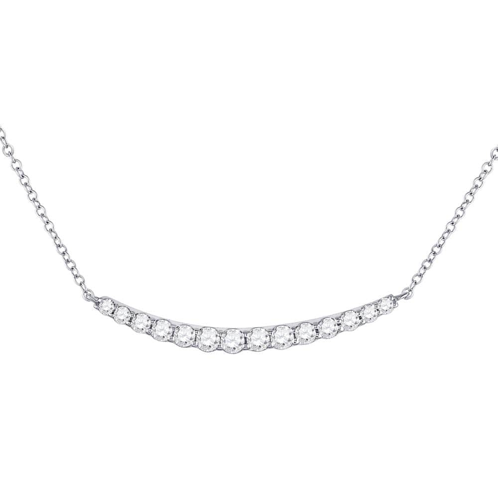 14kt White Gold Womens Round Diamond Curved Bar Necklace 3/4 Cttw