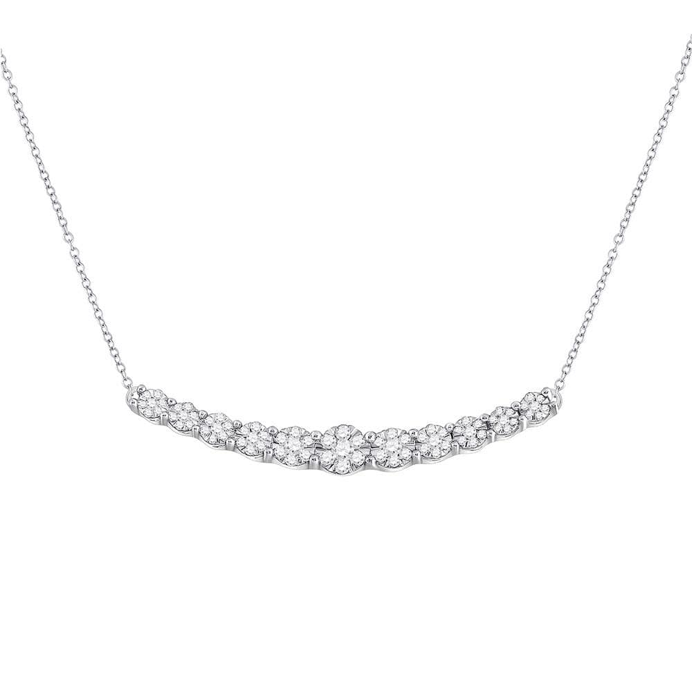 14kt White Gold Womens Round Diamond Curved Graduated Bar Necklace 1/2 Cttw