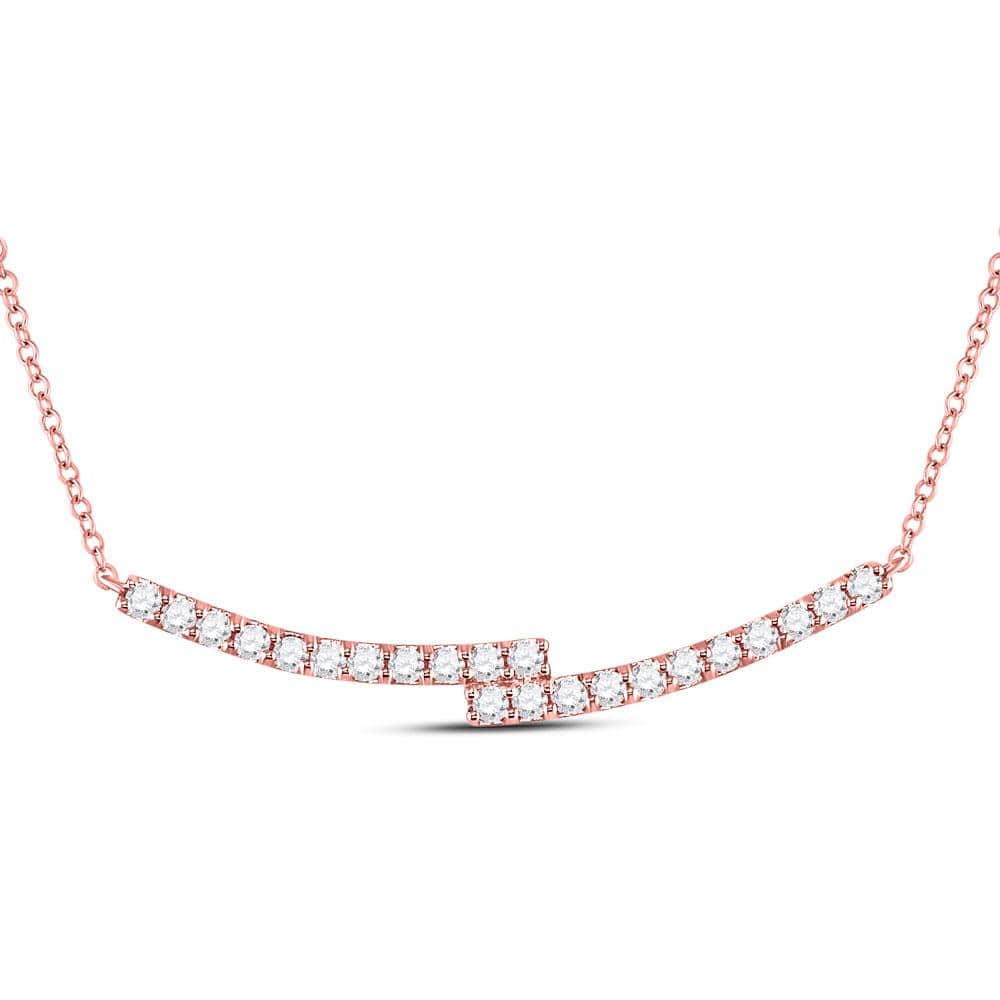 14kt Rose Gold Womens Round Diamond Double Bar Necklace 1.00 Cttw