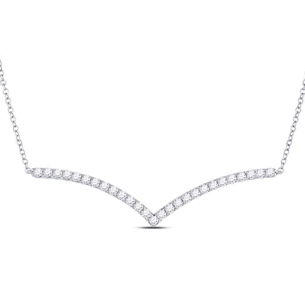 14kt White Gold Womens Round Diamond Fashion Chevron Bar Necklace 1.00 Cttw