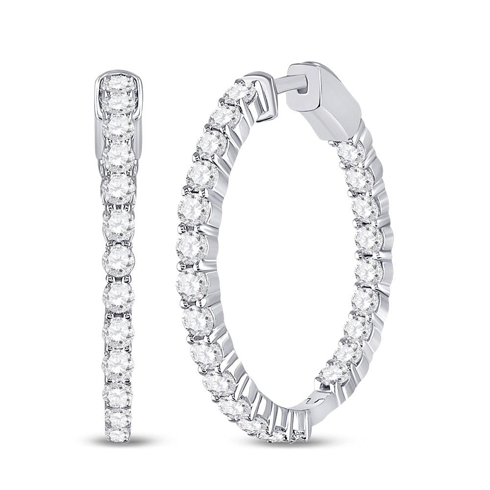 14kt White Gold Womens Round Diamond Single Row Hoop Earrings 3.00 Cttw