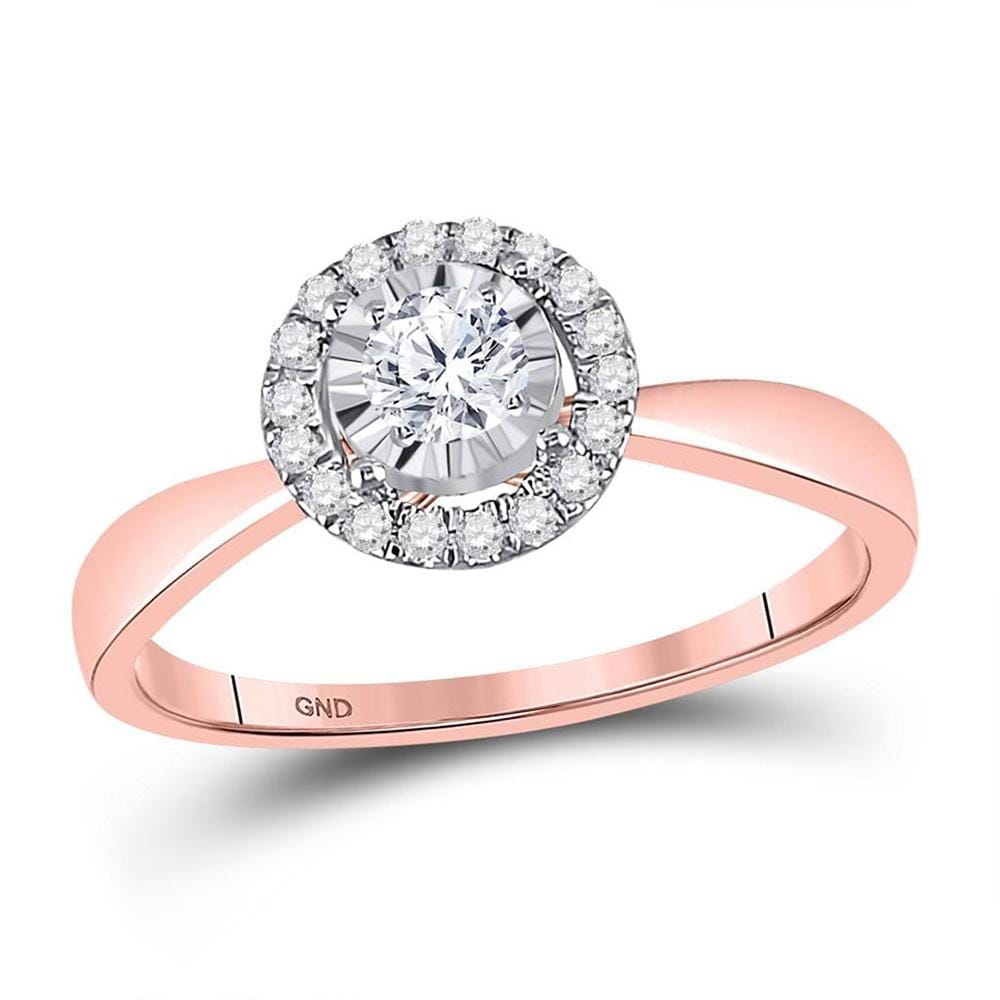 14kt Rose Gold Round Diamond Halo Bridal Wedding Engagement Ring 1/3 Cttw