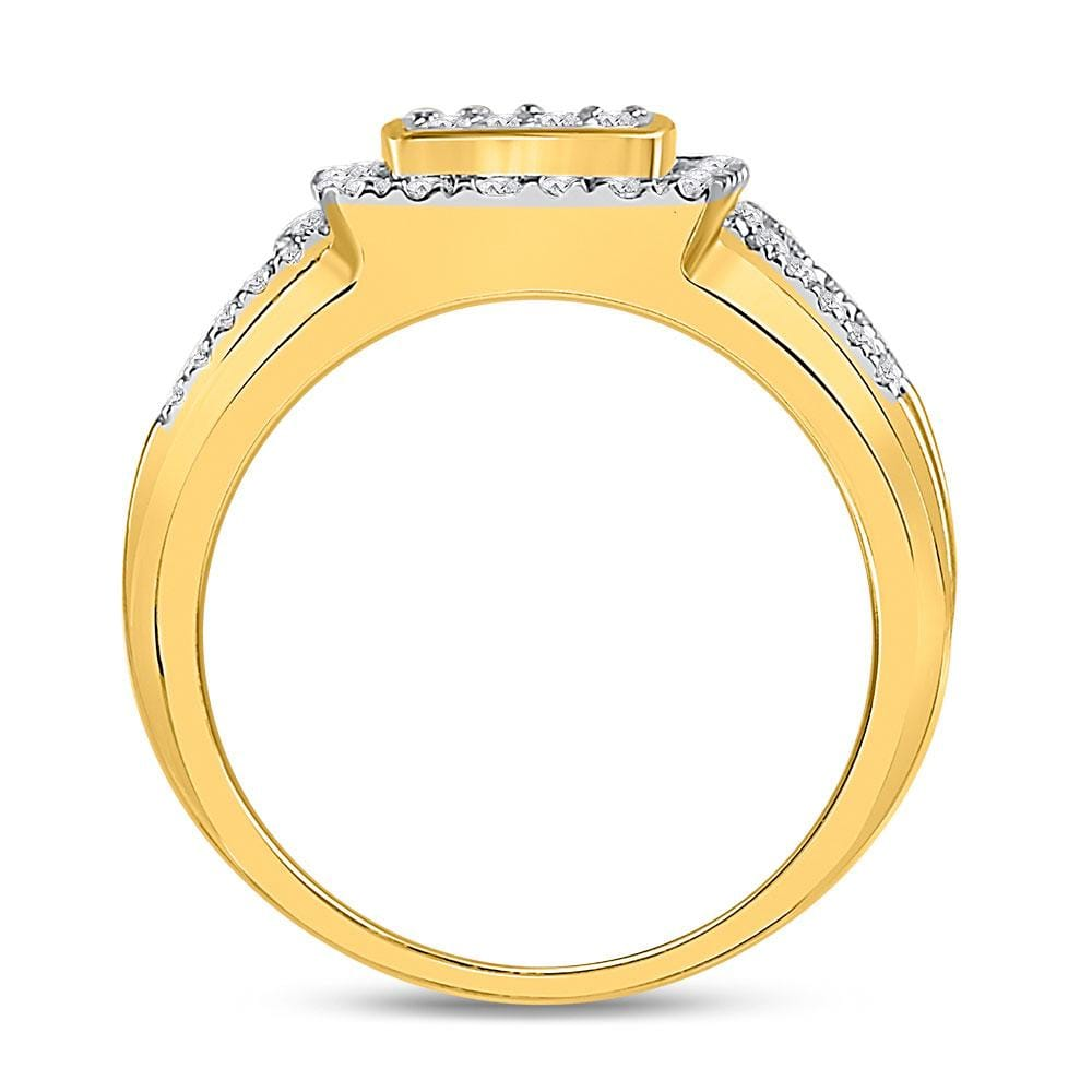 10kt Yellow Gold Womens Round Diamond Square Cluster Ring 1 Cttw