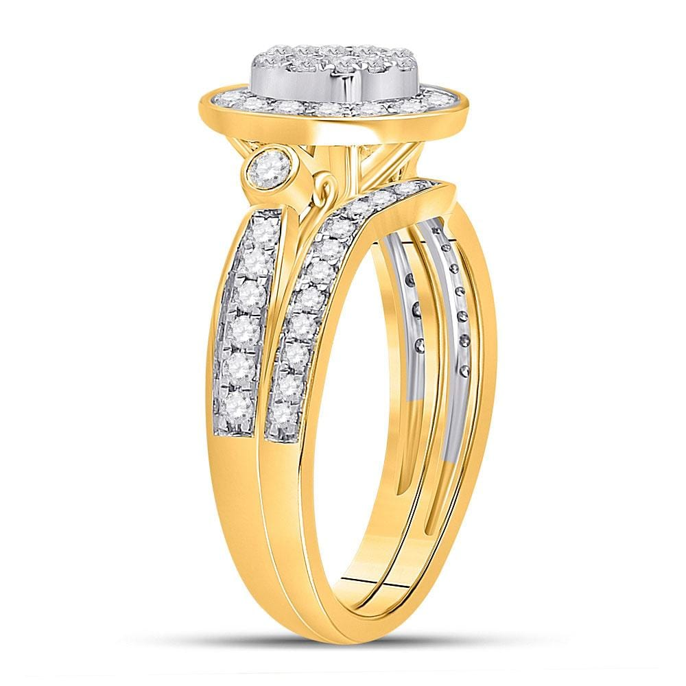 14kt Yellow Gold Princess Diamond Bridal Wedding Ring Band Set 3/4 Cttw