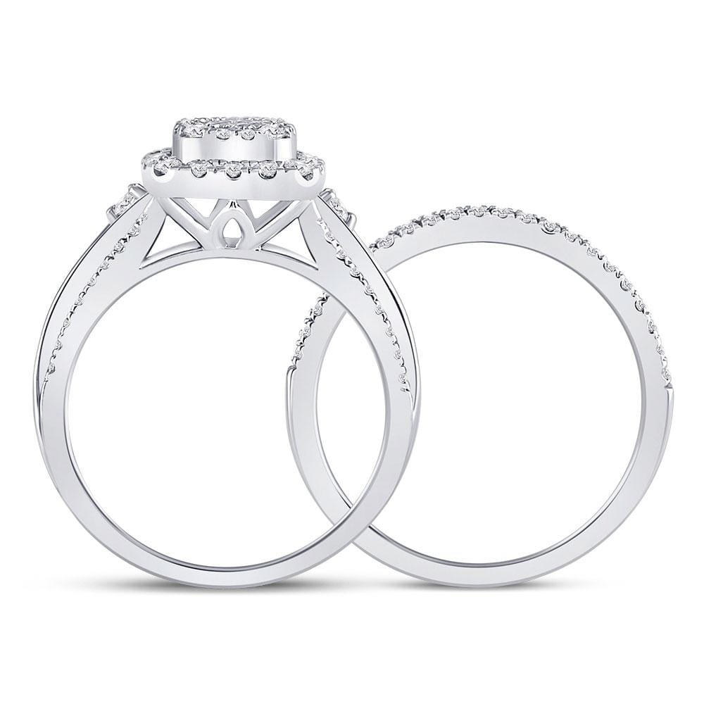 14kt White Gold Womens Princess Diamond Soleil Bridal Wedding Engagement Ring Band Set 7/8 Cttw