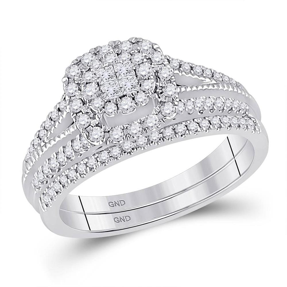 14kt White Gold Princess Diamond Bridal Wedding Ring Band Set 1/2 Cttw