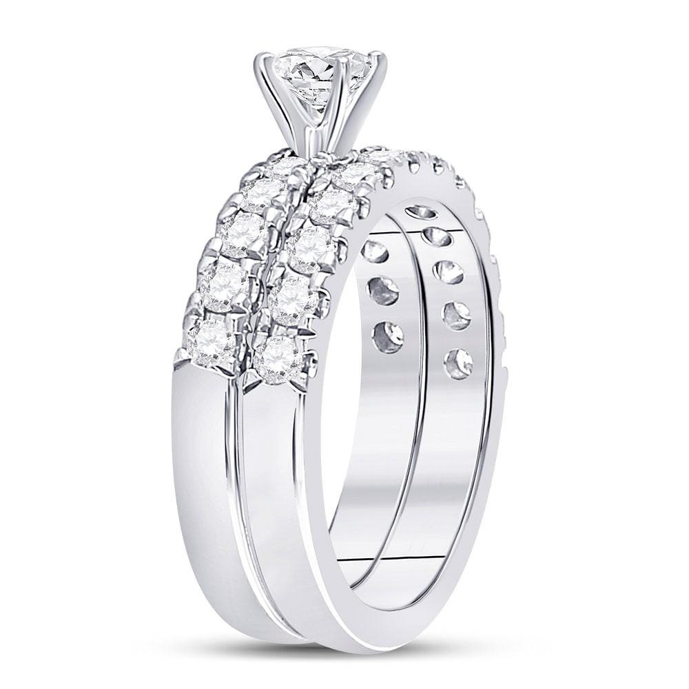 14kt White Gold Womens Round Diamond Bridal Wedding Engagement Ring Band Set 1-1/3 Cttw