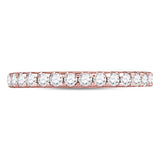 14kt Rose Gold Womens Round Diamond Single Row Wedding Band 1/2 Cttw